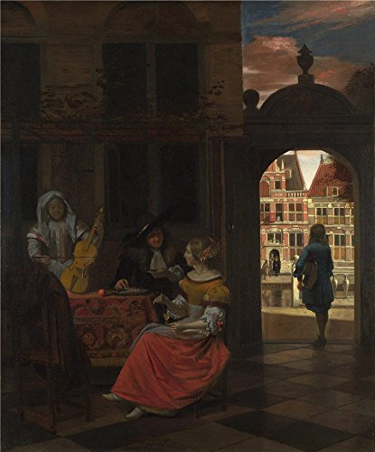 'Pieter De Hooch A Musical Party In A Courtyard ' Oil Painting, 16 X 19 Inch / 41 X 49 Cm ,printed On Polyster Canvas ,this Vivid Art Decorative Prints On Canvas Is Perfectly Suitalbe For Game Room Gallery Art And Home Decor And Gifts