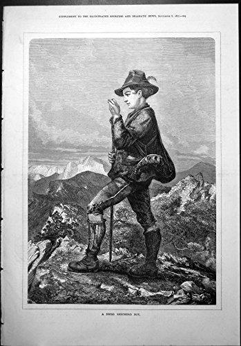 Stampa Antica della Roccia 1877 di Paesaggio delle Alpi della Borsa di Horn del Cappello dei Calzini degli Stivali del Ragazzo del Pastore dello Svizzero