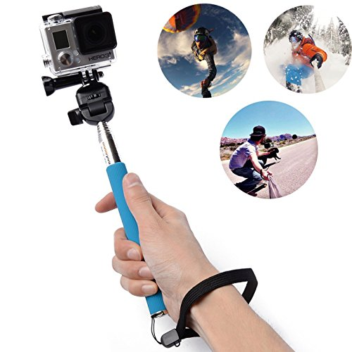 Oldelf Extendable Telescopic Handheld Pole Arm Monopod Black With Tripod Adapter And Screw For Gopro Hd Hero 3+/Hero 3/Hero 2/Hero 1 Digital Camera Enable Self-Service Photographs (Blue With Adapter And Screw)