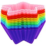 TiflChef Silicone Baking Cups / Cupcake Liners - 12 Reusable Star Shaped Cupcake Liners