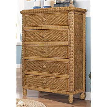 Stix N Things Santa Cruz 5 Drawer Wicker Chest Antique Honey
