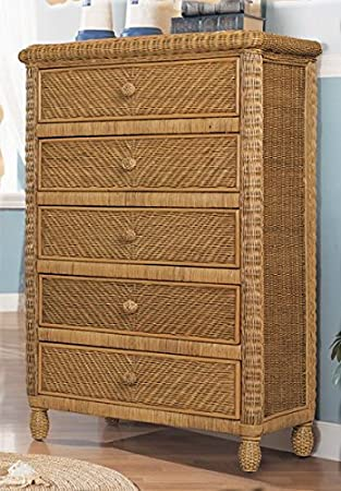 Santa Cruz 5 Drawer Wicker Chest