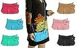 OBC ital-design Damentasche mit Blume kleine Umhängetasche Schultertasche Abendtasche Clutch CrossOver mini Bag Street 26x16 cm (BxH) (Himmelsblau)