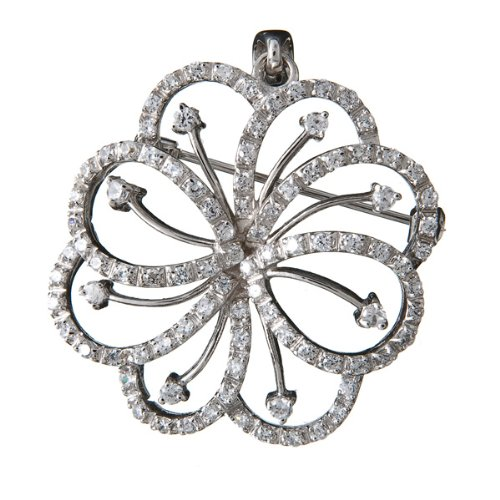 ClassicDiamondHouse C.Z Filigree Rhodium .925 Sterling Silver Pin And Pendent