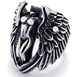 KONOV Jewelry Stainless Steel Angel Wing Unisex Ring, Black and Silver