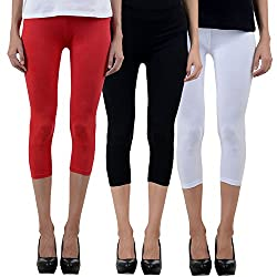 NumBrave Womens Red, Black & White 3 in 1 Cotton Capri Set