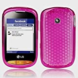 Hot Pink LG Cookie Style T310 Hexagon Diamond Shape Hydro Soft Hex TPU Silicone Gel Skins Mobile Phone Case Cover