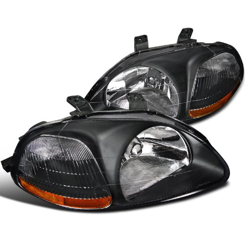 Spec-D Tuning 2LH-CV96JM-RS Honda Civic Dx Ex Lx Si 2/3/4Dr Jdm Headlights Black (1998 Honda Hatchback Accessories compare prices)