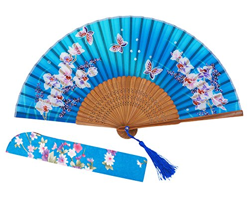 Meifan Chinese/Japanese Womens Handmade Silk Folding Hand Fan (SkyBlue)