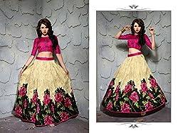 Khazanakart Designer Cream Color Printed Bhagalpuri Fabric Un-stitched Lehenga Choli With Chiffon Dupatta Material.