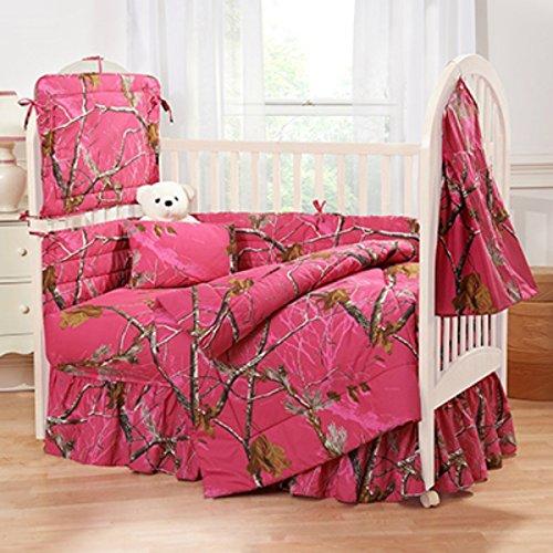Realtree AP Hot Pink Fuchsia Camo 6 Piece Crib Set includes (Crib Fitted Sheet, Crib Bumper Pad, Crib Headboard Pad, Crib Comforter, Crib Bedskirt and Crib Diaper Stacker)- Save Big By Bundling!