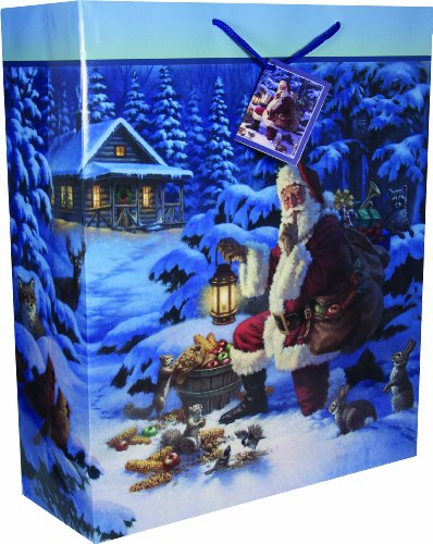 River's Edge Santa with Wildlife Design Gift Bag, X-Large, 16 x 19 x 6-Inch