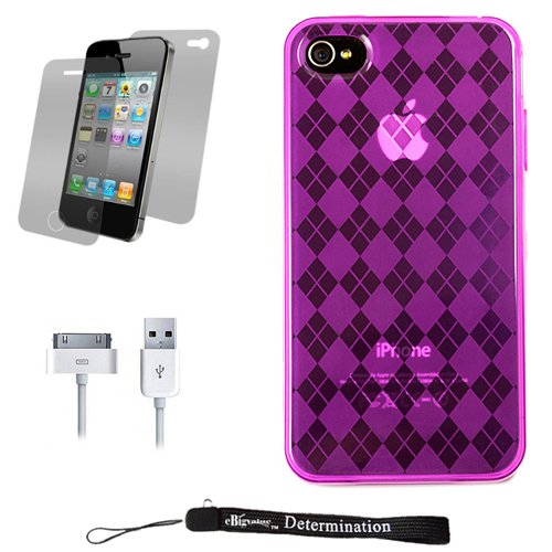 Magenta Durable TPU Skin Cover Case with Back Argyle Design for New Apple iPhone 4 ( 4th Generation 16GB 32GB - AT&T and Verizon ) + Includes Anti Glare Screen Protector Guard + Includes a USB Data Sync Cable for your iPhone 4