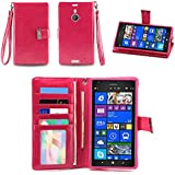 IZENGATE Nokia Lumia 1520 Wallet Case - Executive Premium PU Leather Flip Cover Folio with Stand (Deep Rose Pink)