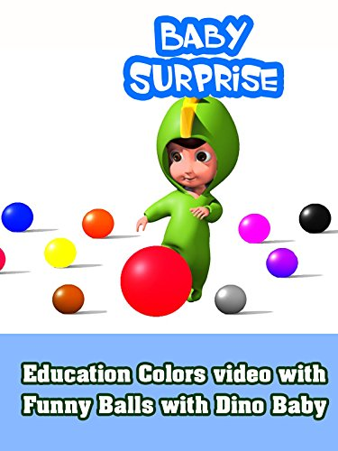 Education Colors video with Funny Balls with Dino Baby