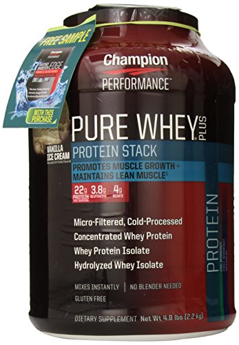 Champion Nutrition Pure Whey Plus Supplements, Vanilla Ice Cream, 4.8 Pound
