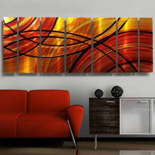 Beautiful Red Orange & Gold Painting with Black Modern design - Large Metal Wall Art Contemporary Home Decor Accent - Bound by Fire by Jon Allen