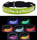 Amazon.co.jp愛犬用 光る首輪 LED ライト 点滅 点灯 テスト電池付属 夜間 散歩 (イエロー, M)