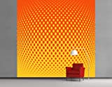 WTD Fleece Wall Mural Retro Disco Ball Club, Mirror, Dance, Light, Orange - Size: 3XL - 388x388cm - 4 parts