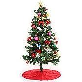 クリスマスツリー ツリー LED点滅8パターン 11種のオーナメントセット スタンドカバー付 150cm レッド
