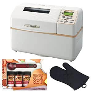 Zojirushi BB-CEC20 Home Bakery Supreme 2-Pound-Loaf Breadmaker + Oven Mitt + Kamenstein Mini Measuring Spoons Spice Set