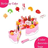 BigNoseDeer birthday Children's Day gift Food Play Toy Set DIY cutting Pretend Play Birthday Party Cake with Candles for Children Kids babies girls Classic Toy 37pcs(New Outer Package)