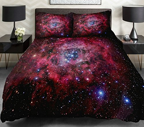 Anlye Galaxy Quilt Cover Galaxy Duvet Cover Galaxy Sheets Space Sheets Outer Space Bedding Set With 2 Matching Pillow Covers (Twin) front-750347