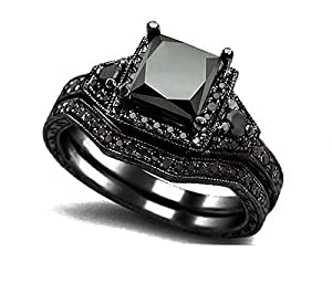 Rongxing Jewelry black Size 7 Cubic Zirconia Women's Black Gold Plated Best Friend Rings Sets Engagement