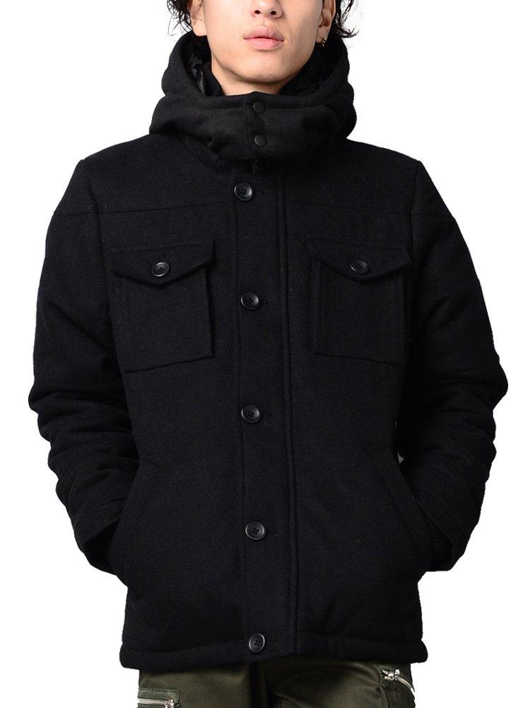 ウール メルトン ダウンジャケット メンズ コート フード付き ブルゾン 中綿 606549