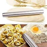 Edelstahl Teig-Roller perfekt für Bäcker, rollt alle gängigen Teige ohne verkleben aus 1,5 Zoll Durchmesser (Edelstahl) -
