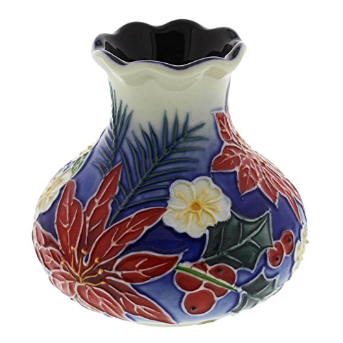 Poinsettia And Holly Old Tupton Ware Vase Boxed Christmas Gift New