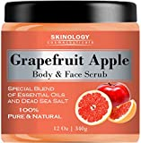100% Natural Grapefruit Scrub for Face & Body 12 Oz - Powerful Body Scrub Exfoliator with Dead Sea Salt, Vitamin E & Essential Oils - Facial Scrub Cleanser & Daily Moisturizer for All Skin Types