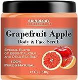 100% Natural Grapefruit Scrub for Face & Body 12 Oz - Powerful Body Scrub Exfoliator with Dead Sea Salt, Vitamin E & Essential Oils - Facial Scrub Cleanser & Daily Moisturizer for All Skin Types