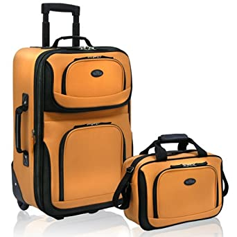 US Traveler Rio Two Piece Expandable Carry-On Luggage Set, Mustard/Orange, One Size