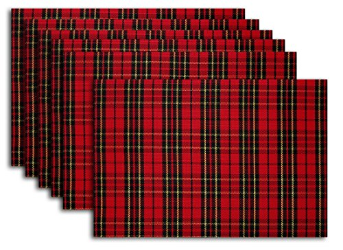 Secret Life(Tm) Set Of 6 Scottish Plaid Style Decor Home Vinyl Woven Dinner Table Placemat Set (6, Scottish Plaid Red)