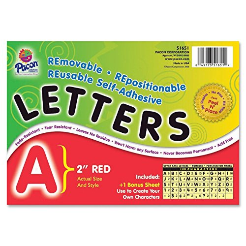 Pacon Letters, 2-Inch, Red-12 (0051651) - 1