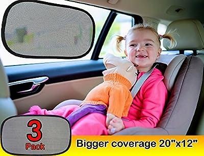 "Car window shade (3px) - Baby car sun shade EXTRA LARGE 20""x12"" as 97% UV blocker & Sun Protection For Car - Static Cling Car Sunshade with 100% money back guarantee - Suction Cup free car sun shade"