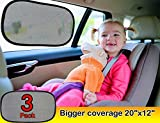 """Car window shade (3px) - Car sun shade EXTRA LARGE 20""""x12"""" with Maximum UV/Sun Protection - Car Sunshade with 100% money back guarantee - latest in interior car accessories"""