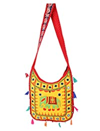 Classic Yellow Embroidered Cotton Elephant Sling Bag For Women's By Rajrang