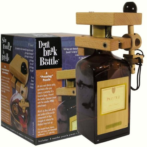 Don't Break The Bottle Wood Wine Carrier Puzzle Gift - The Vise (Wine Bottle Puzzle compare prices)