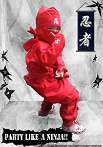 Halloween Children's Ninja Uniform/ Martial Art Costume! Black/Red (Red, Smal...