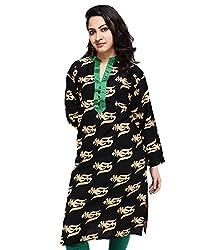 Sarva Women's Cotton Kurta (sc-0120283_Black&Green_42)