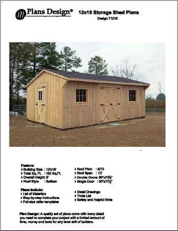 Features of 12' X 18' Saltbox Style Storage Shed Project Plans -Design