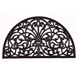 Kempf Half Moon Shaped Rubber Scroll Doormat, 18 by 30 by 0.5-Inch
