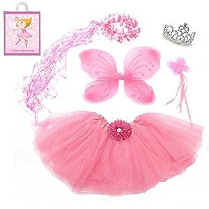 5 Piece Sparkle Fairy Princess Costume Set PLUS GIFT BAG (Pink)