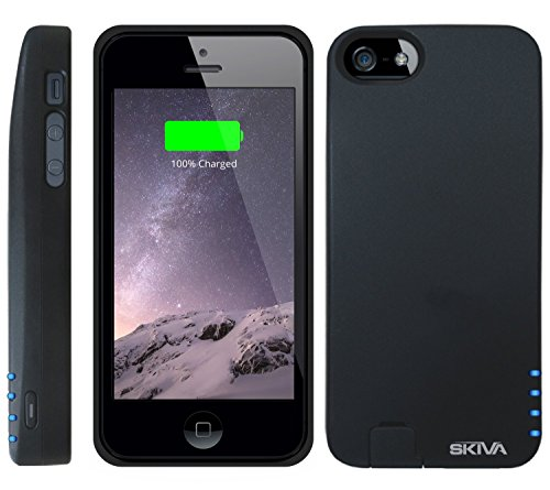 [Apple Mfi Certified] Skiva Powerskin Ip5 Protective Battery Case (2000Mah) With *Unblocked Lightning & Audio Port* For Fast Charging Of Iphone 5S And Iphone 5 [Model No.: Ap104] - 1 Year Warranty