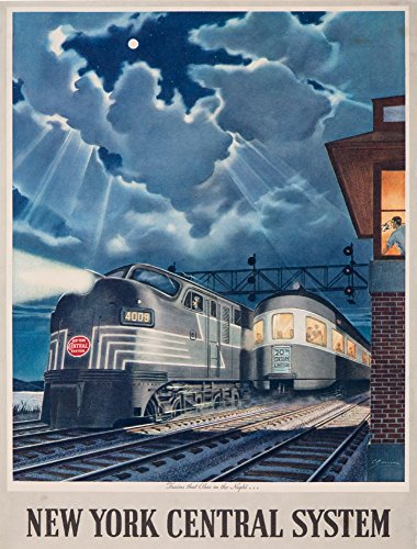 New York Central System - Trains That Pass in the Night Vintage Poster (artist: Gascon) c. 1948 (12x18 Collectible Art Print, Wall Decor Travel Poster) (Central Train New York Poster compare prices)