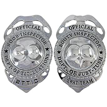 Amazon.com: Booty And Boob Inspector Badges Set - Funny Novelty Police