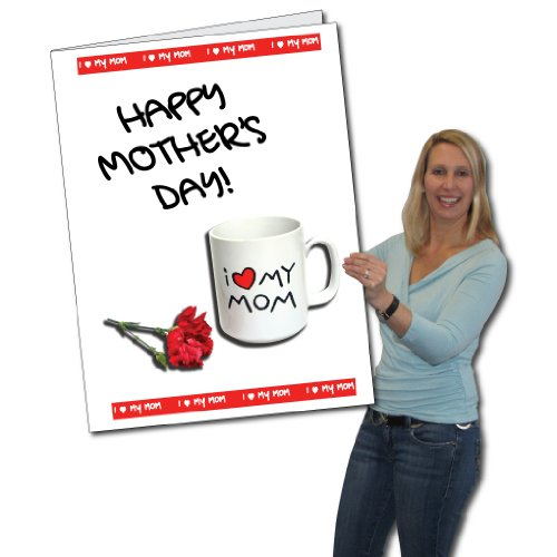 2' X 3' Giant Mother'S Day Card (Coffee Cup And Flowers) W/ Envelope