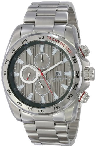 Akribos Xxiv Men'S Ak672Gn Grandiose Swiss Quartz Multifunction Grey Dial Silver-Tone Stainless Steel Bracelet Watch